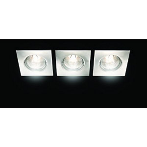 Wickes Fixed Square Downlight Brushed Chrome 3 Pack