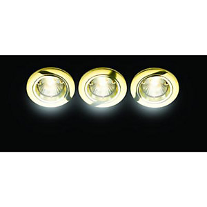 Wickes Fire Rated Fixed Downlight Brass 3 Pack