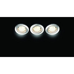 Wickes Fire Rated Energy Efficient Downlight Brushed Chrome 3 Pack