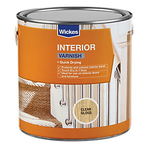 Wickes Quick Drying Interior Varnish Clear Gloss 750ml