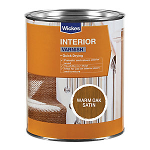 Wickes Quick Drying Interior Varnish Warm Oak Satin 750ml