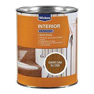 Wickes Quick Drying Interior Varnish Dark Oak Gloss 750ml