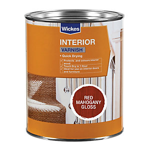 Wickes Quick Drying Interior Varnish Red Mahogany Gloss 750ml