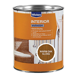 Wickes Quick Drying Interior Varnish Warm Oak Gloss 750ml