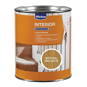 Wickes Quick Drying Interior Varnish Natural Oak Satin 750ml