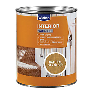 Wickes Quick Drying Interior Varnish Natural Oak Gloss 750ml