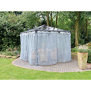 Wickes Palermo Gazebo Netting Set Grey - 2 Pack 4 Pieces
