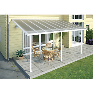 Wickes Feria Patio Cover White Clear 3x3.05m