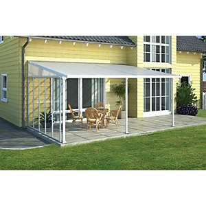 Wickes Feria Patio Cover White Clear 3x4.25m