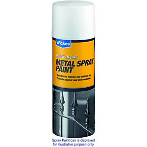 Wickes Gloss Metal Spray Paint Black 400ml