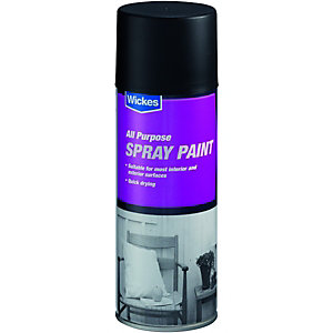 Wickes All Purpose Spray Paint Gloss Black 400ml
