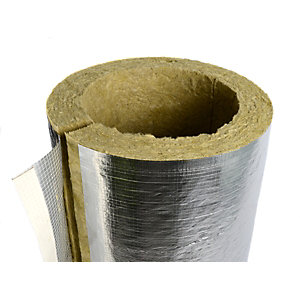 Rockwool Heating and Ventilation Pipe Insulation 42mm bore x 25mm thickness x 1000mm length
