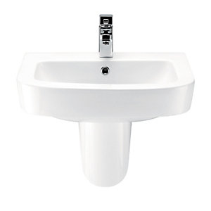 Wickes Phoenix Square Basin with Semi Pedestal 600mm