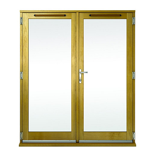 Wickes albery pattern 10 solid oak laminate french doors for 5 foot exterior french doors