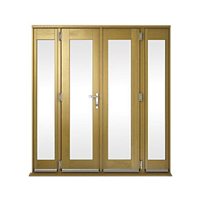 Wickes Albery Pattern 10 Solid Oak Laminate French Doors 8ft with 2 Side Lites 300mm
