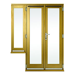 Wickes Albery Pattern 10 Solid Oak French Doors 9ft with 2 Dwarf Lites 600mm