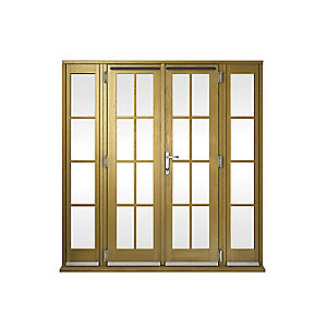 Wickes Albery Georgian Bar Solid Oak Laminate French Doors 8ft with 2 Side Lites 300mm