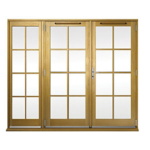 Wickes Albery Georgian Bar Solid Oak Laminate French Doors 6ft with 1 Side Lites 600mm