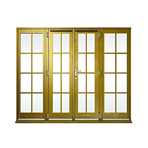 Wickes Albery Georgian Bar Solid Oak French Doors 8ft with 2 Side Lites 600mm
