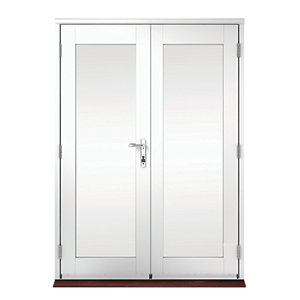 Wickes Derwent Softwood French Doors White Finish 4ft
