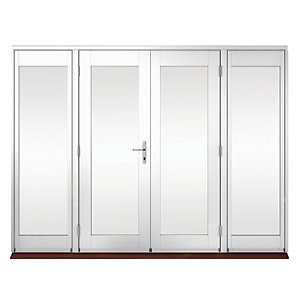 Wickes Derwent Softwood French Doors White Finish 5ft With 2 Side Lites 600mm