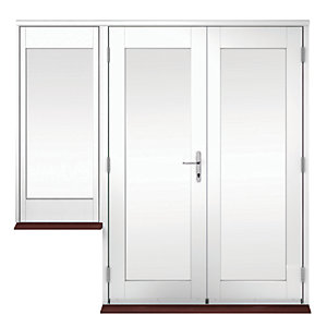 Wickes Derwent Softwood French Doors White Finish 4ft with 1 Dwarf Lite 600mm