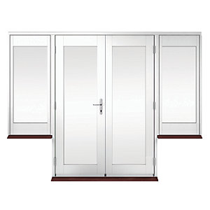 Wickes Derwent Softwood French Doors White Finish 4ft With 2 Dwarf Lites 600mm