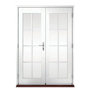 Wickes Coniston Georgian Bar Softwood French Doors White 6ft