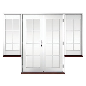 Wickes Coniston Georgian Bar Softwood French Doors 6ft with 2 Dwarf Lites 600mm