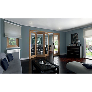 Wickes Ashton Internal Folding Door Oak Veneer Glazed 1 Lite 2047x2545mm