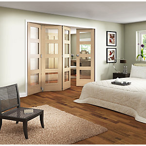 Wickes Ashton Internal Folding Door Oak Veneer Glazed 4 Lite 2047x2545mm