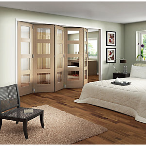 Wickes Ashton Internal Folding Door Oak Veneer Glazed 4 Lite 2047x3158mm
