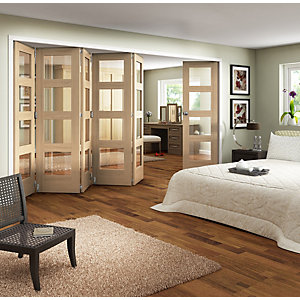 Wickes Ashton Internal Folding Door Oak Veneer Glazed 4 Lite 2047x3771mm