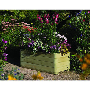 Wickes Marberry Rectangular Timber Planter 390 x 500mmx 1m