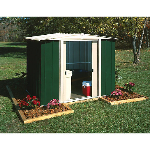 Rowlinson metal apex shed without floor 8x6 for Garden shed 8x6