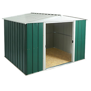 Rowlinson Metal Apex Shed with Floor Green and White 10x8