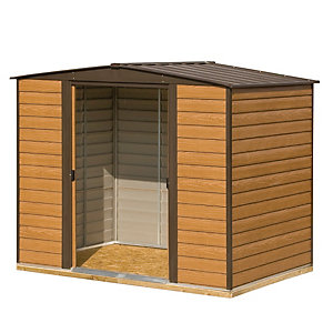 Rowlinson Woodvale Metal Apex Shed with Floor Brown 8x6