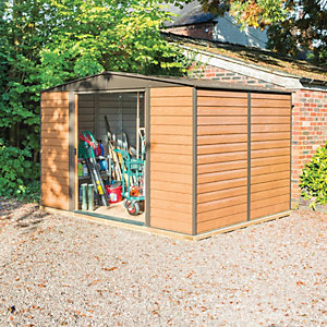 Rowlinson Woodvale Metal Apex Shed with Floor Brown 10x8