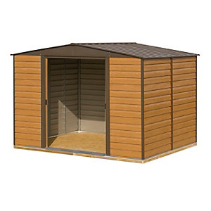 Rowlinson Woodvale Metal Apex Shed with Floor Brown 10x12
