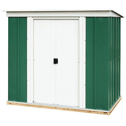 Rowlinson metal pent shed with floor 6x4 for Garden shed 6 x 4 cheap