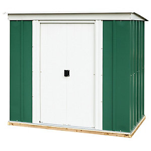 Rowlinson Metal Pent Shed Green and White 6x4 ft