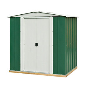 Rowlinson Metal Apex Shed Green and White 6x5 ft