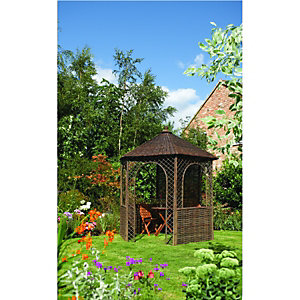 Rowlinson Willow Gazebo 6 Sided 2.7 x 2.5 x 2.2m Brown