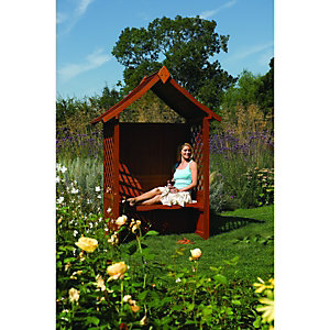 Rowlinson Canterbury Hardwood Arbour 0.92x2.3x1.65m Brown