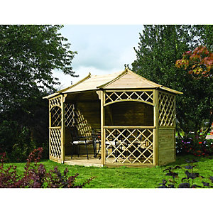 Rowlinson Sandringham Gazebo 8 Sided 2.7 x 3.9 x 3.0m Natural