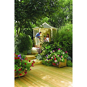Rowlinson Gainsborough Gazebo 6 Sided 2.7 x 3.0 x 2.6m Natural