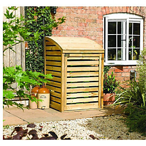 Rowlinson Single Wooden Bin Store 1280x800x820mm Natural