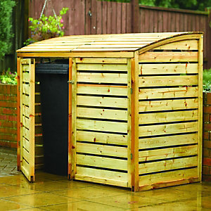 Rowlinson Double Wooden Bin Store Natural