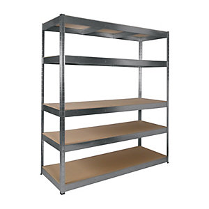 Rb Boss 5 Tier Wood Shelving Kit Galvanised 1800 x 1600 x 600 250kg Udl