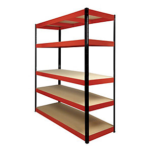 Rb Boss 5 Tier Wood Shelving Kit Red & Black 1800 x 1600 x 600 250kg Udl